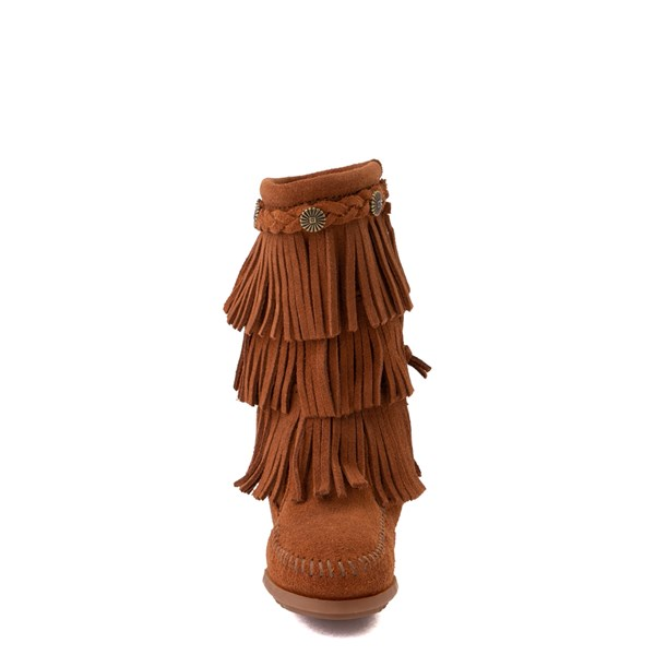 alternate view Minnetonka 3-Layer Fringe Boot - Little Kid / Big Kid - BrownALT4