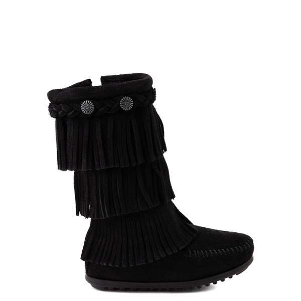 Main view of Minnetonka 3-Layer Fringe Boot - Little Kid / Big Kid - Black