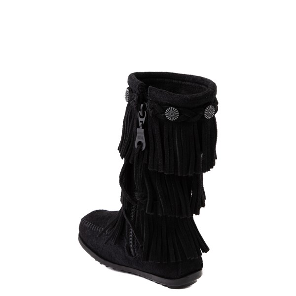 alternate view Minnetonka 3-Layer Fringe Boot - Little Kid / Big Kid - BlackALT1