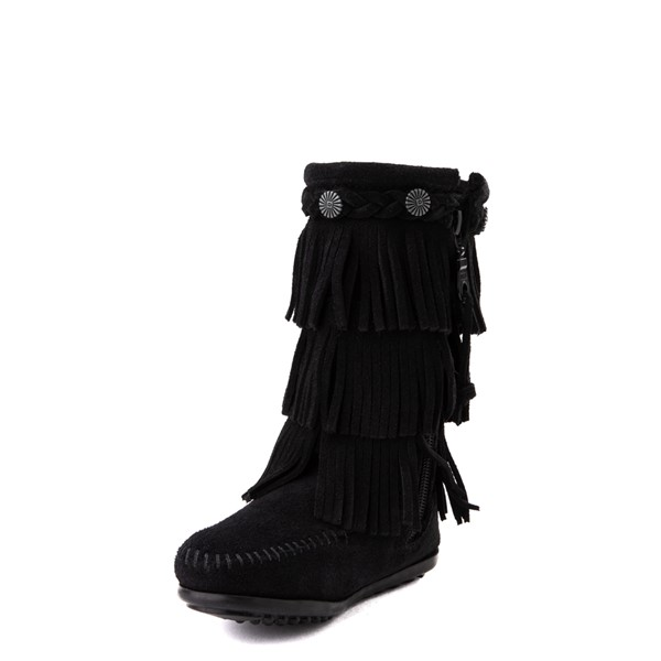 alternate view Minnetonka 3-Layer Fringe Boot - Little Kid / Big Kid - BlackALT2