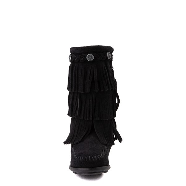 alternate view Minnetonka 3-Layer Fringe Boot - Little Kid / Big Kid - BlackALT4