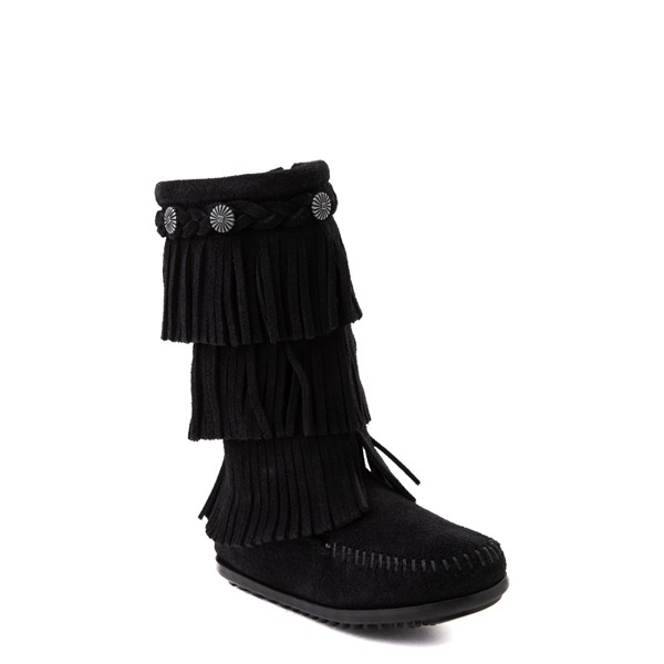 alternate view Minnetonka 3-Layer Fringe Boot - Little Kid / Big Kid - BlackALT5