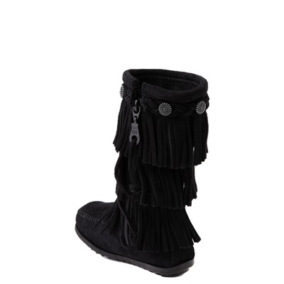 Alternate view of Minnetonka 3-Layer Fringe Boot - Little Kid / Big Kid - Black