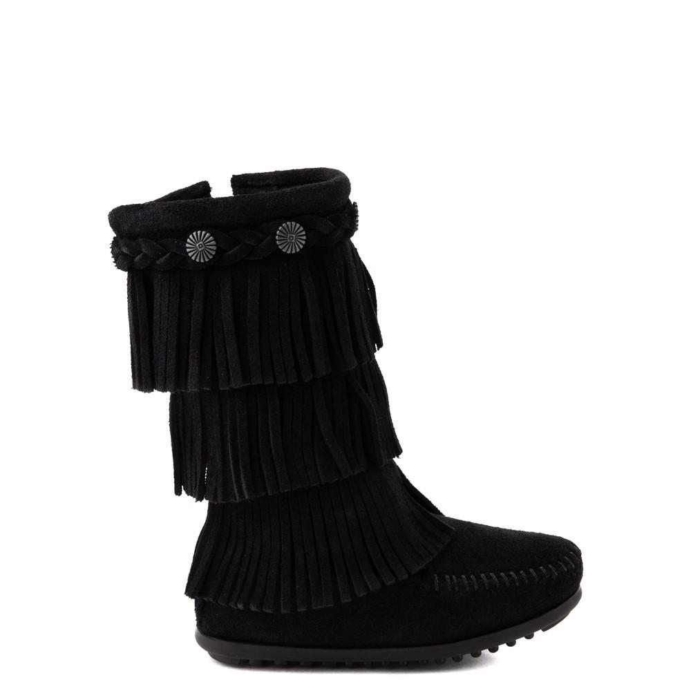 Minnetonka 3-Layer Fringe Boot - Little Kid / Big Kid - Black