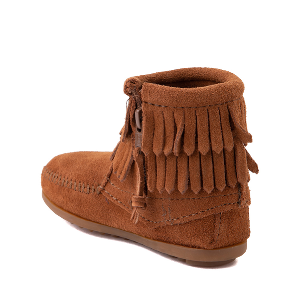 alternate view Minnetonka Double Fringe Bootie - Little Kid / Big Kid - BrownALT1
