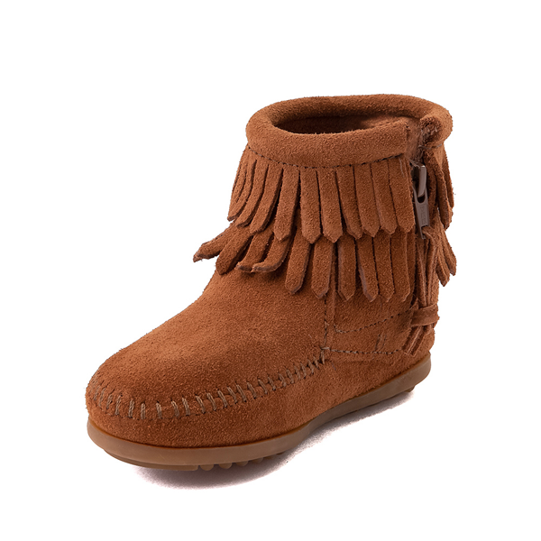 alternate view Minnetonka Double Fringe Bootie - Little Kid / Big Kid - BrownALT2