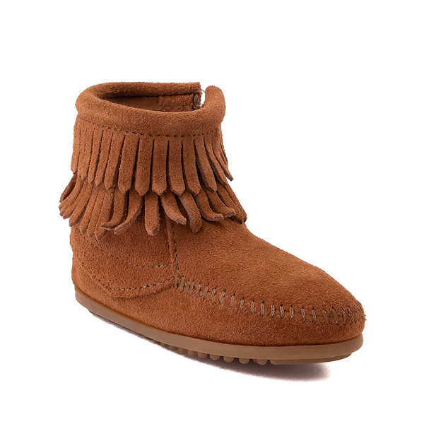 alternate view Minnetonka Double Fringe Bootie - Little Kid / Big Kid - BrownALT5