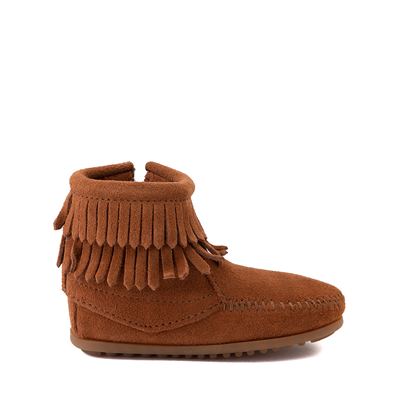 Main view of Minnetonka Double Fringe Bootie - Little Kid / Big Kid - Brown