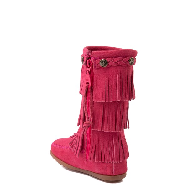 alternate view Minnetonka 3-Layer Fringe Boot - Toddler / Little Kid - Hot PinkALT1