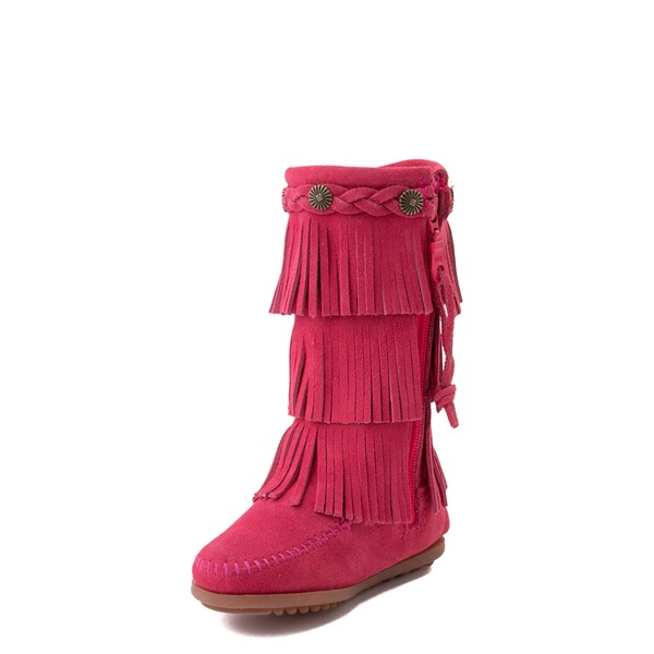 alternate view Minnetonka 3-Layer Fringe Boot - Toddler / Little Kid - Hot PinkALT2