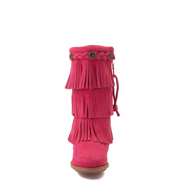 alternate view Minnetonka 3-Layer Fringe Boot - Toddler / Little Kid - Hot PinkALT4