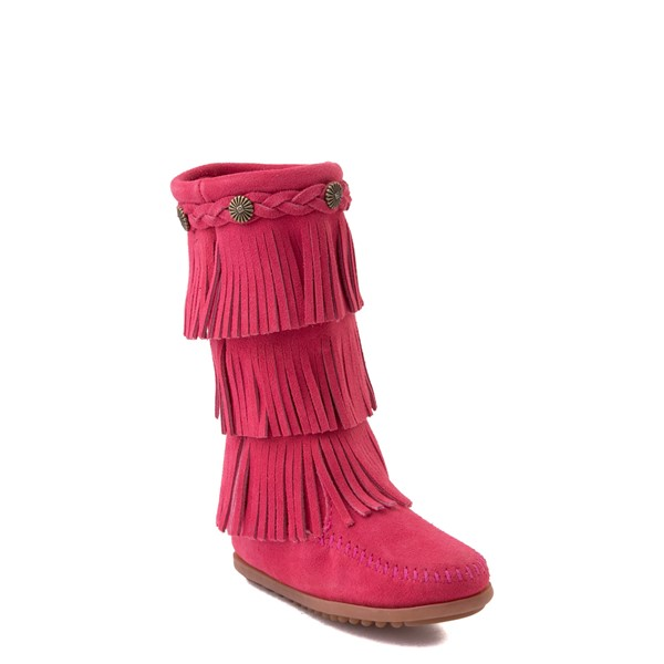 alternate view Minnetonka 3-Layer Fringe Boot - Toddler / Little Kid - Hot PinkALT5