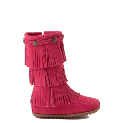 Main view of Minnetonka 3-Layer Fringe Boot - Toddler / Little Kid - Hot Pink
