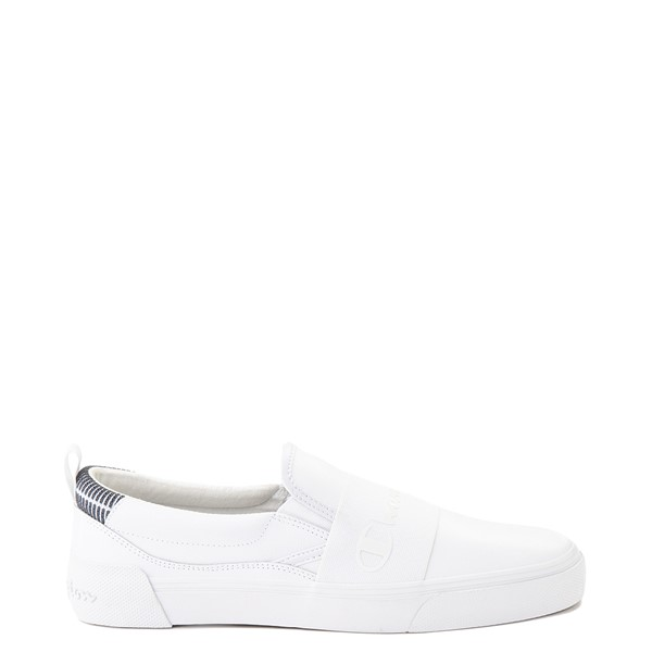 Main view of Mens Champion Rally Leather Slip On Athletic Shoe - White