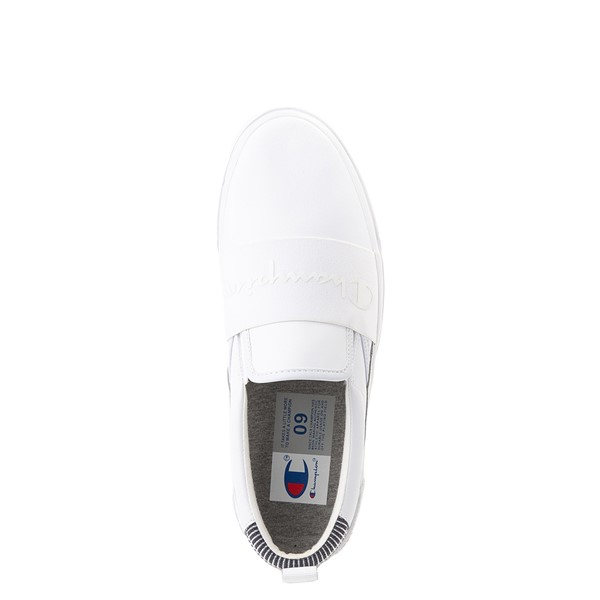 alternate view Mens Champion Rally Leather Slip On Athletic Shoe - WhiteALT4B
