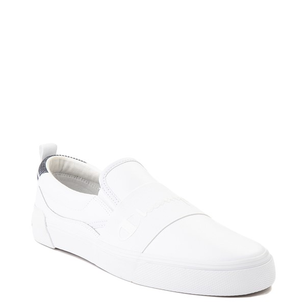 alternate view Mens Champion Rally Leather Slip On Athletic Shoe - WhiteALT5