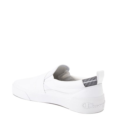 Alternate view of Mens Champion Rally Leather Slip On Athletic Shoe - White