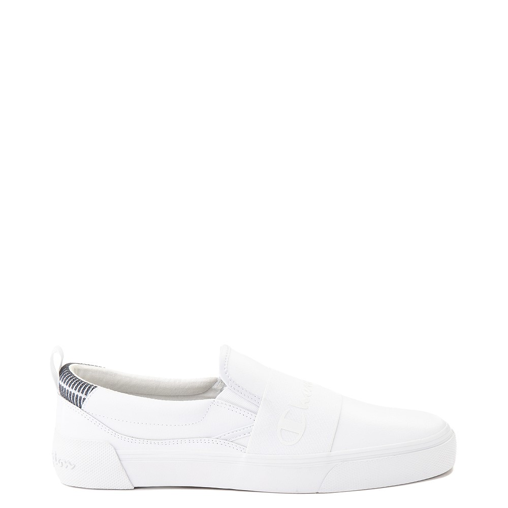 Mens Champion Rally Leather Slip On Athletic Shoe - White