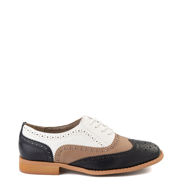 Womens Wanted Babe Oxford Casual Shoe - Navy / Taupe / White