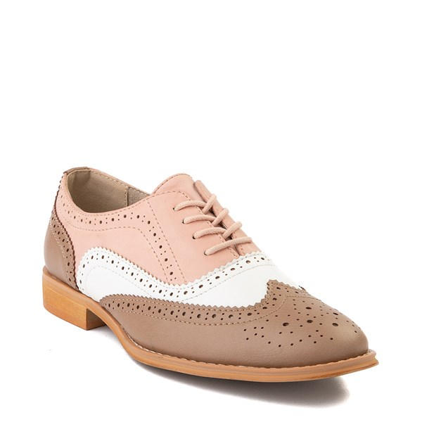 alternate view Womens Wanted Babe Oxford Casual Shoe - Taupe / White / PinkALT1