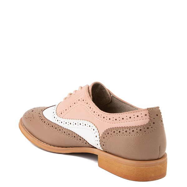 alternate view Womens Wanted Babe Oxford Casual Shoe - Taupe / White / PinkALT2