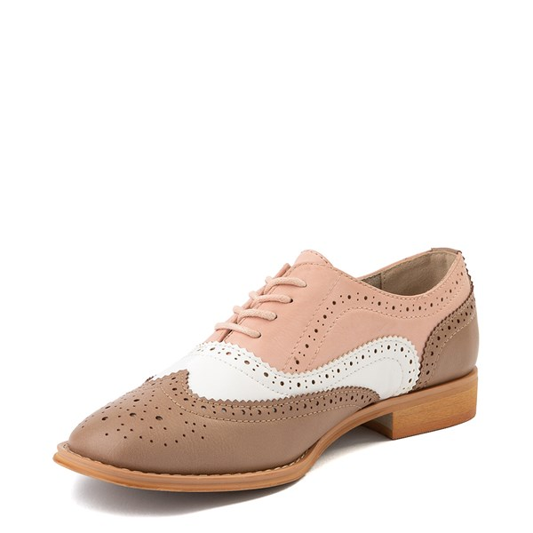 alternate view Womens Wanted Babe Oxford Casual Shoe - Taupe / White / PinkALT3