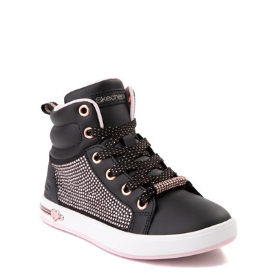 Alternate view of Skechers Shoutouts Sparkle and Style Sneaker - Little Kid - Black / Rose Gold