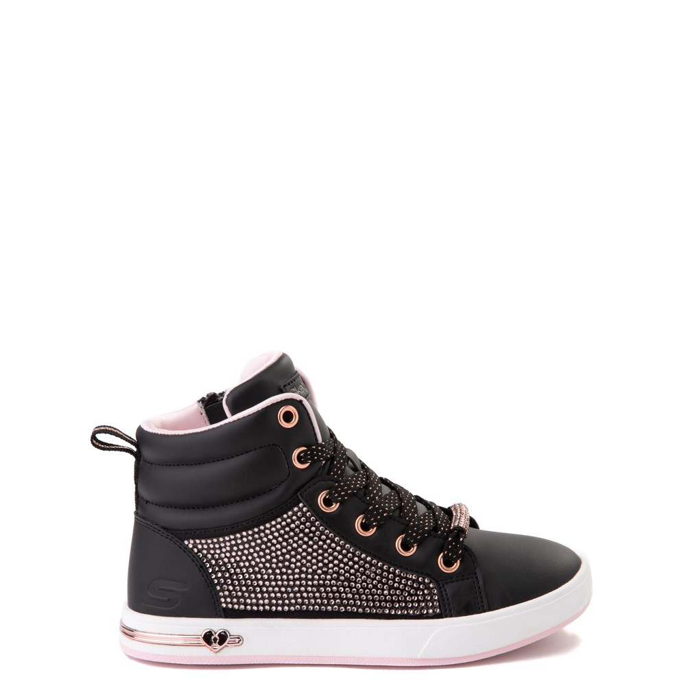 Skechers Shoutouts Sparkle and Style Sneaker - Little Kid - Black / Rose Gold