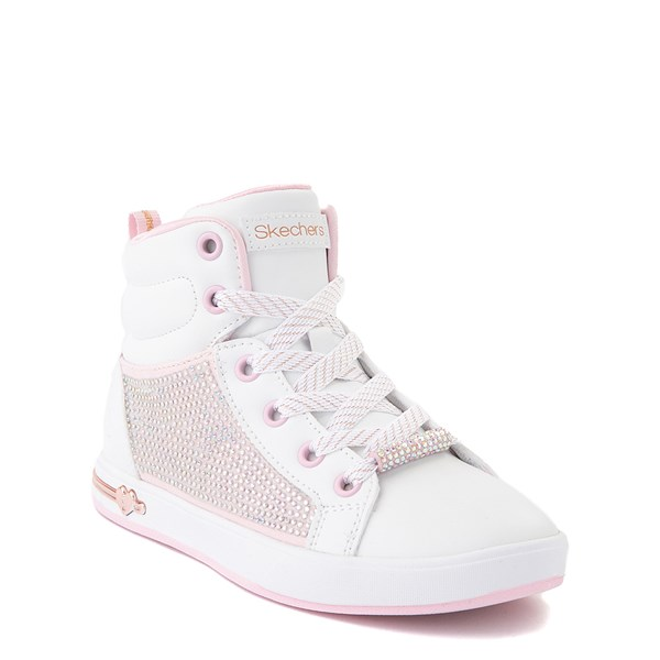 alternate view Skechers Shoutouts Sparkle and Style Sneaker - Little Kid - White / PinkALT1