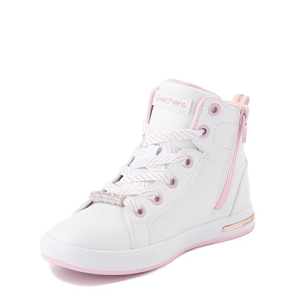 alternate view Skechers Shoutouts Sparkle and Style Sneaker - Little Kid - White / PinkALT3