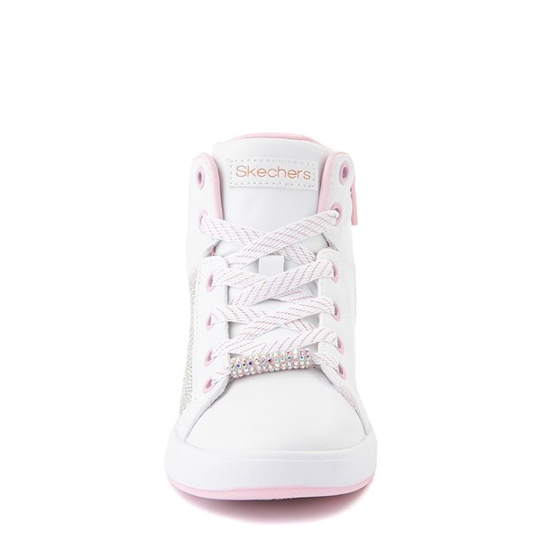 alternate view Skechers Shoutouts Sparkle and Style Sneaker - Little Kid - White / PinkALT4