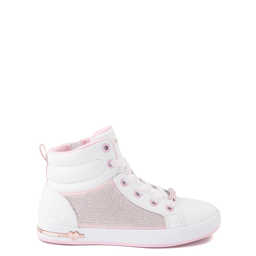 Skechers Shoutouts Sparkle and Style Sneaker - Little Kid - White / Pink