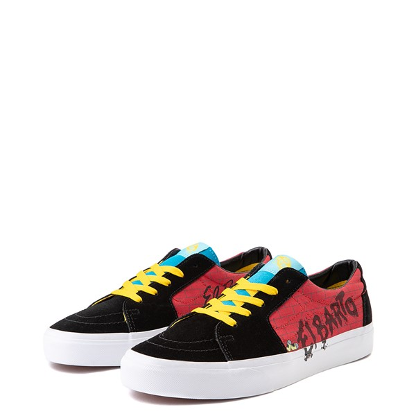 alternate view Vans x The Simpsons Sk8 Low El Barto Skate Shoe - Black / RedALT3