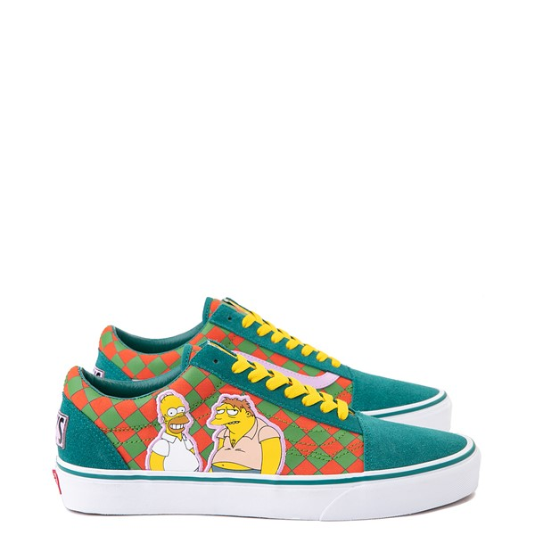 Main view of Vans x The Simpsons Old Skool Moe's Tavern Checkerboard Skate Shoe - Green / Orange