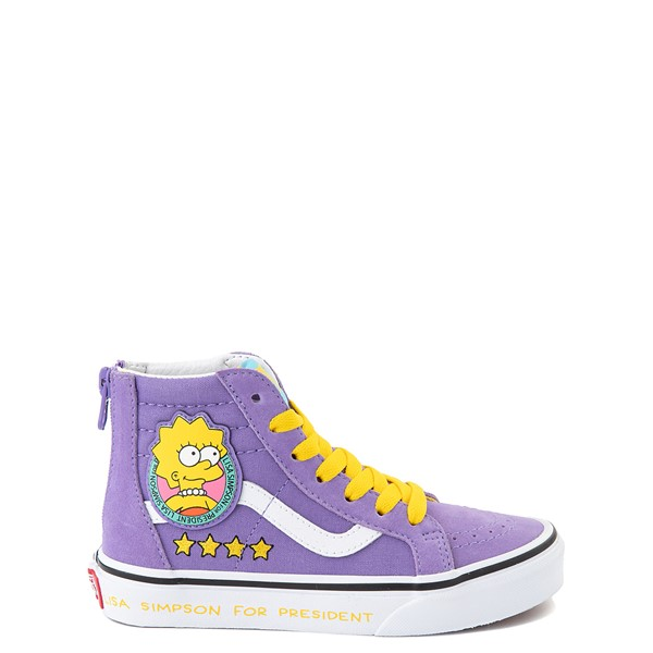 Main view of Vans x The Simpsons Sk8 Hi Zip Lisa For President Skate Shoe - Little Kid - Purple