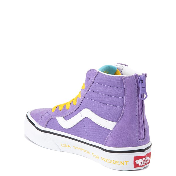 alternate view Vans x The Simpsons Sk8 Hi Zip Lisa For President Skate Shoe - Little Kid - PurpleALT1