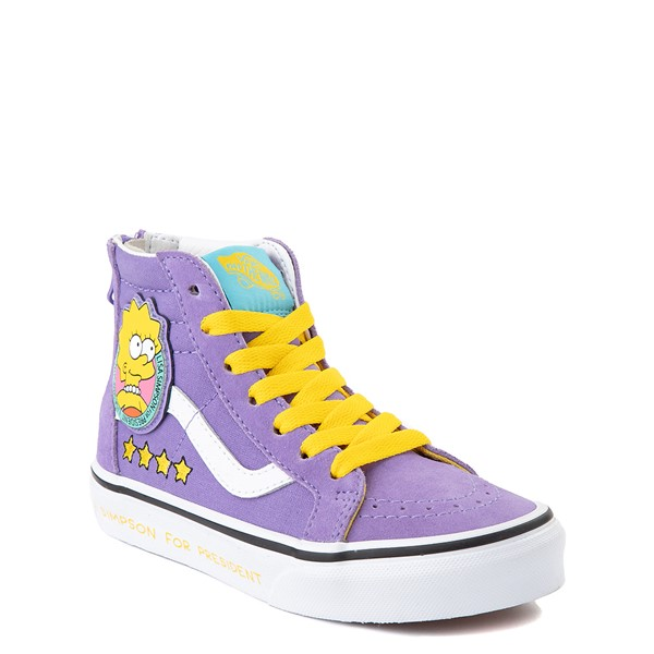 alternate view Vans x The Simpsons Sk8 Hi Zip Lisa For President Skate Shoe - Little Kid - PurpleALT5