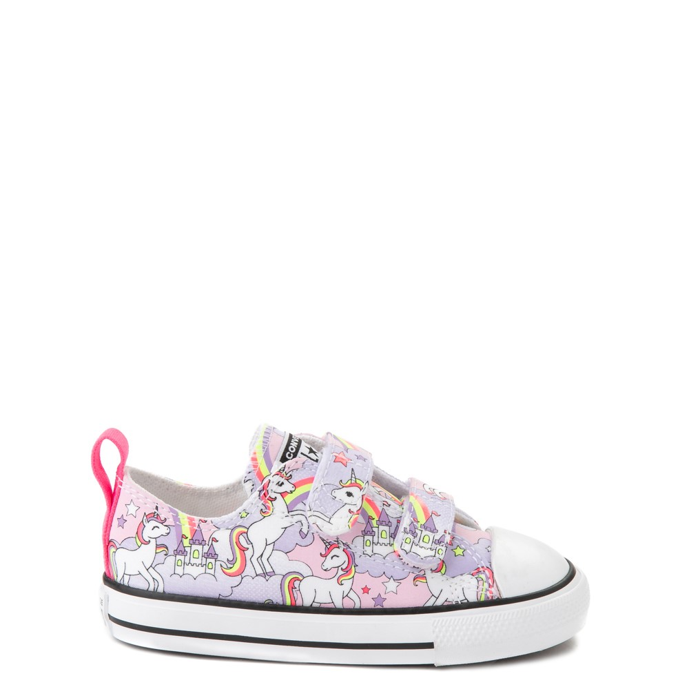 Converse Chuck Taylor All Star 2V Unicorn Rainbow Lo Sneaker - Baby / Toddler - Pink Foam