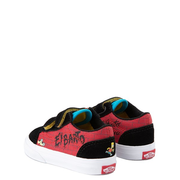 alternate view Vans x The Simpsons Old Skool V El Barto Skate Shoe - Baby / Toddler - Black / RedALT1