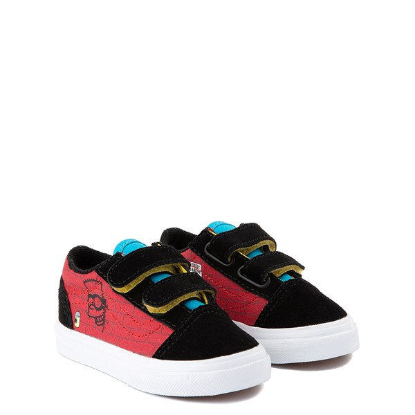 alternate view Vans x The Simpsons Old Skool V El Barto Skate Shoe - Baby / Toddler - Black / RedALT5