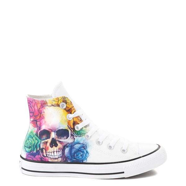 Converse Chuck Taylor All Star Hi Sneaker - White / Watercolor Skull / Roses