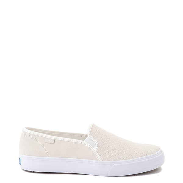 Womens Keds Double Decker Slip On Suede Perf Casual Shoe - Cream