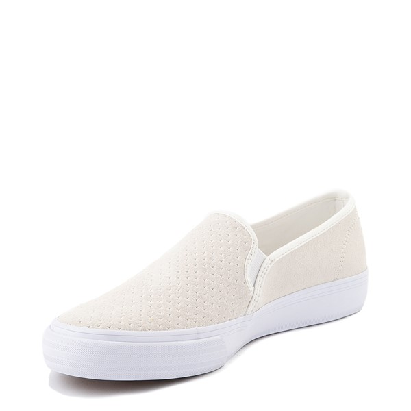 alternate view Womens Keds Double Decker Slip On Suede Perf Casual Shoe - CreamALT2