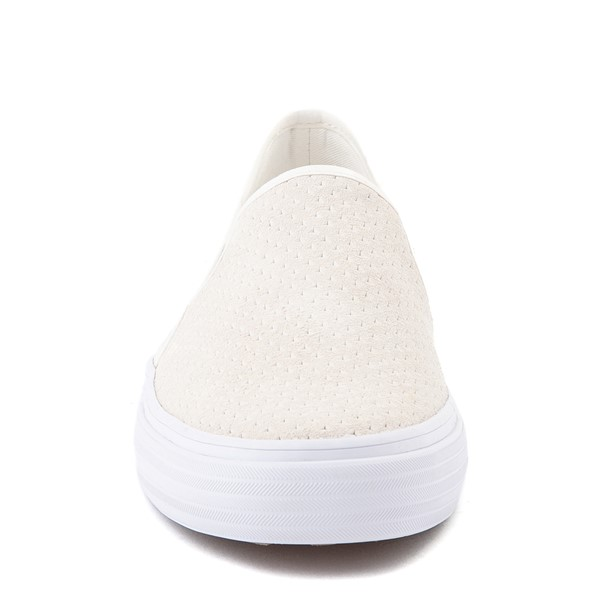 alternate view Womens Keds Double Decker Slip On Suede Perf Casual Shoe - CreamALT4