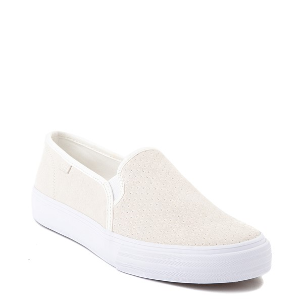 alternate view Womens Keds Double Decker Slip On Suede Perf Casual Shoe - CreamALT5