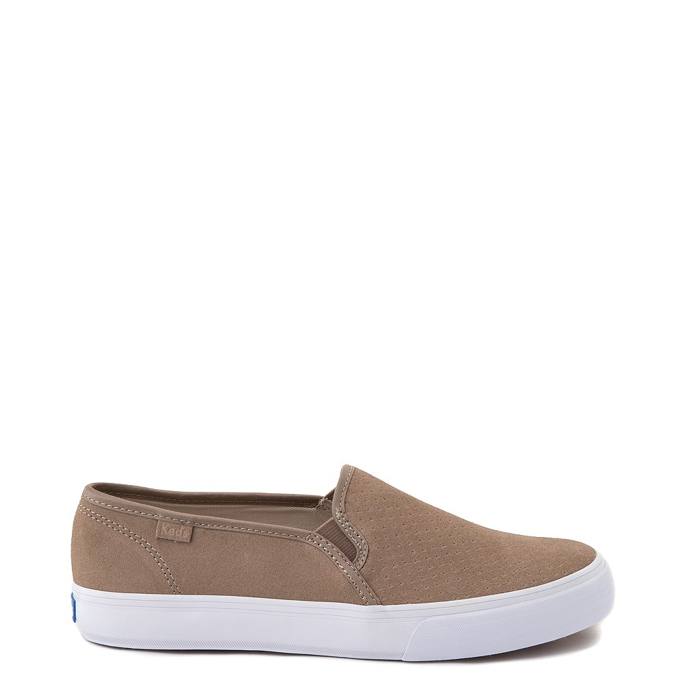 Womens Keds Double Decker Slip On Suede Perf Casual Shoe - Taupe