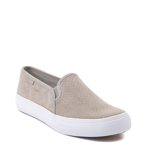 Alternate view of Womens Keds Double Decker Slip On Suede Perf Casual Shoe - Gray