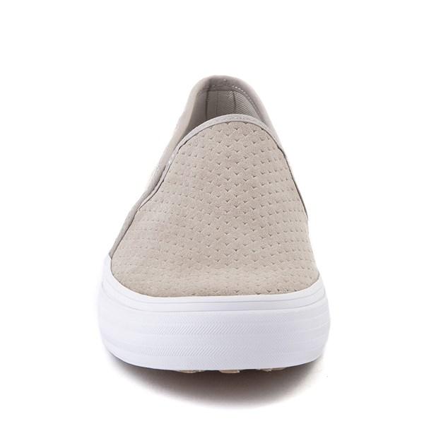 alternate view Womens Keds Double Decker Slip On Suede Perf Casual Shoe - GrayALT4