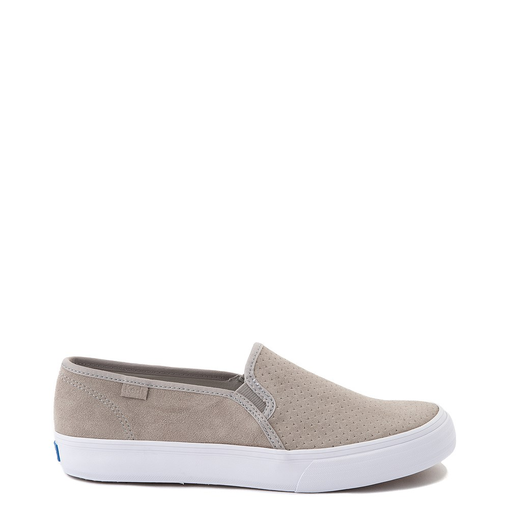 Womens Keds Double Decker Slip On Suede Perf Casual Shoe - Gray