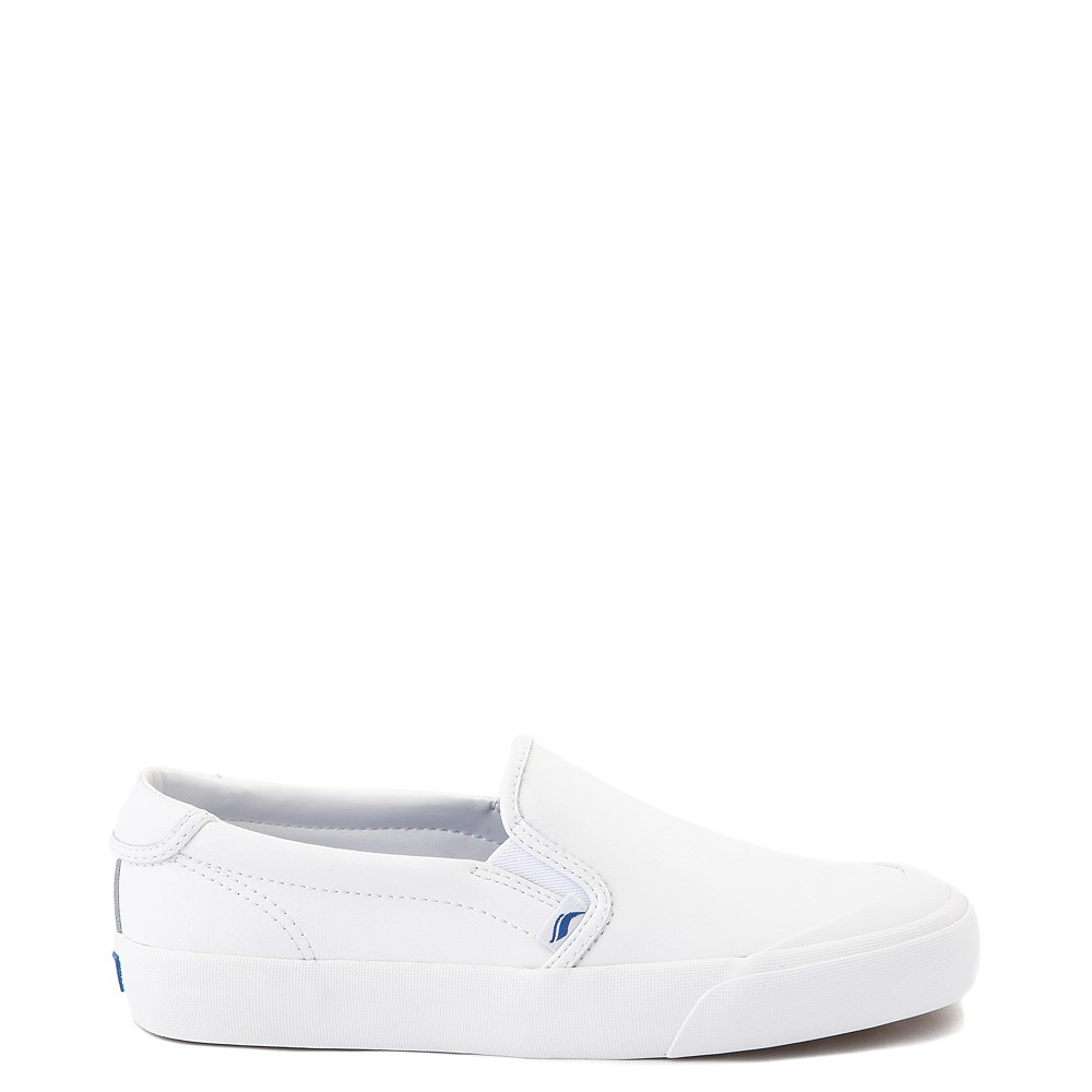 Womens Keds Crew Kick 75 Leather Slip On Casual Shoe - White